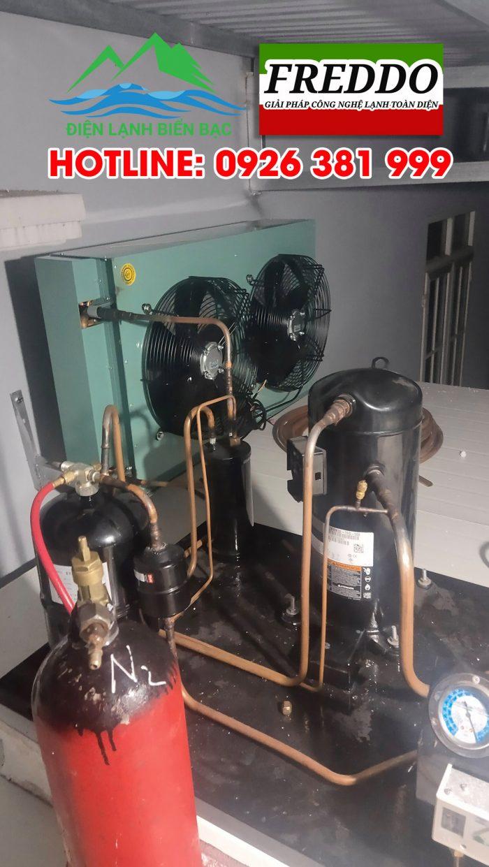 Hoàn thiện cụm dàn nóng, nạp gas, khí N2 cho máy nén